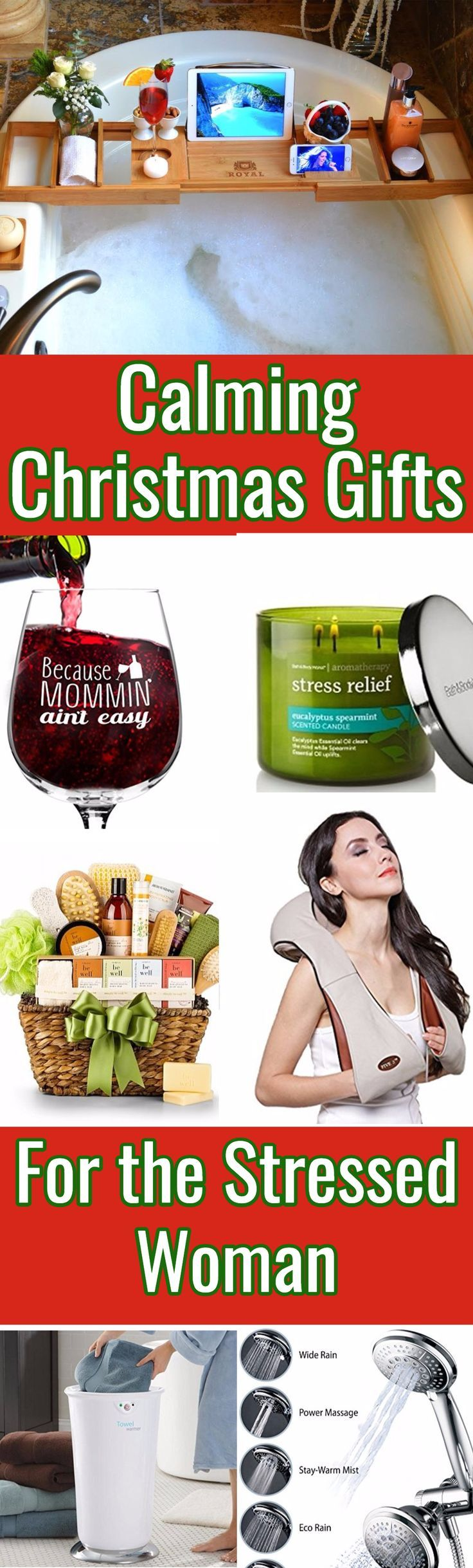 Calming Christmas gifts for the stressed woman - looking for Christmas gift ideas for the woman who is constantly stressed out?  Soothe her frazzled nerves with one of these pampering Christmas presents!  Click to see over 50 fabulous gift ideas.  #GiftForHer  #christmasgiftguide  #momgift