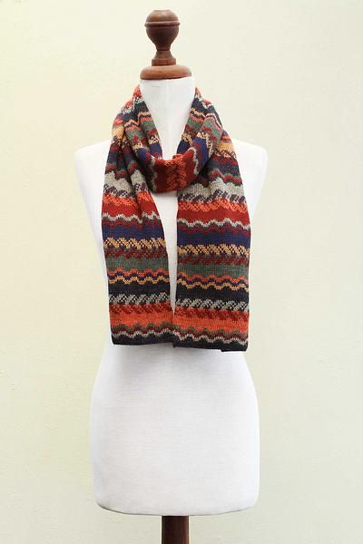 100% alpaca scarf, 'Lavish Winter' - Alpaca Wool Striped Scarf