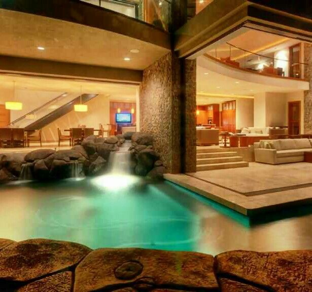 Mansion Pools Close Up: Extraordinary Indoor-outdoor Pool W/waterfall~