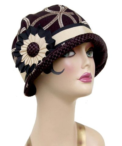 1920's Inspired Cloche Hat Black Embroidered with Gold with Contrast Under Brim Large Ribbon Flower Detail