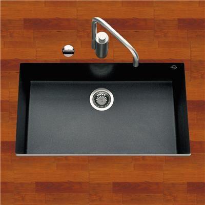 Évier sous plan granit noir moucheté URBIA 1 bac  760x440