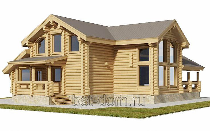Проекты домов из оцилиндрованного бревна 370-150 м2 - Строительство деревянных и каменных домов 8-9852240745.