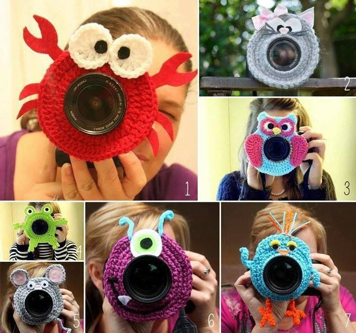 Cute crochet camera lens covers for taking pictures of kids. Inspiration pic only.