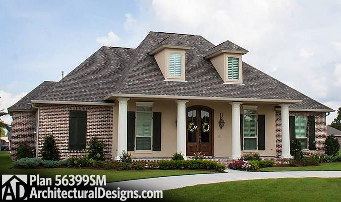 Plan 56399sm 4 bed acadian house plan with bonus room for Acadian country house plans