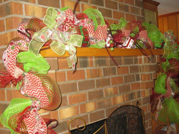 Christmas Garland In Red & Green Deco Mesh by TallahatchieDesigns