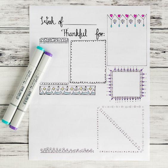 free printable gratitude journal page with doodle frames monday motivation pinterest. Black Bedroom Furniture Sets. Home Design Ideas