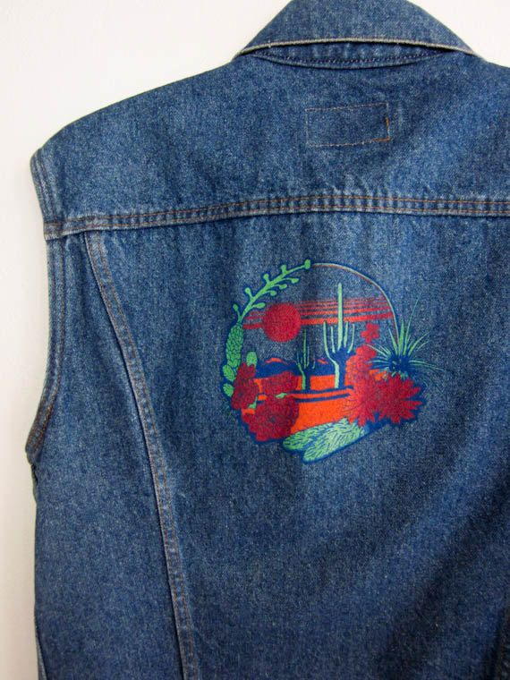 vintage 70's DESERT landscape skyline levis jean vest mens by foxandfawns, $44.00