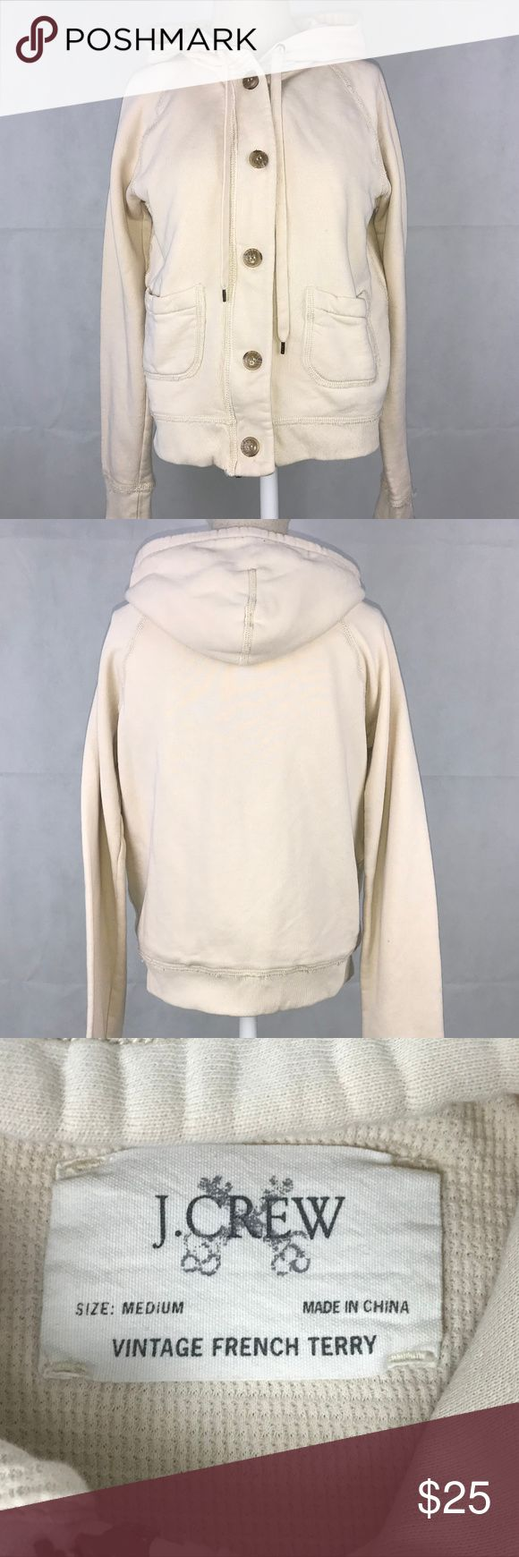 J Crew vintage french terry waffle lined hoodie J Crew women's size Medium beige/ivory vintage french terry zip button waffle lined hoodie jacket. Made of 100% cotton. Chest measurement: 18 inches (underarm to underarm) Sleeve measurement: 28 inches (neck to hem) Length measurement: 20 inches J. Crew Tops Sweatshirts & Hoodies