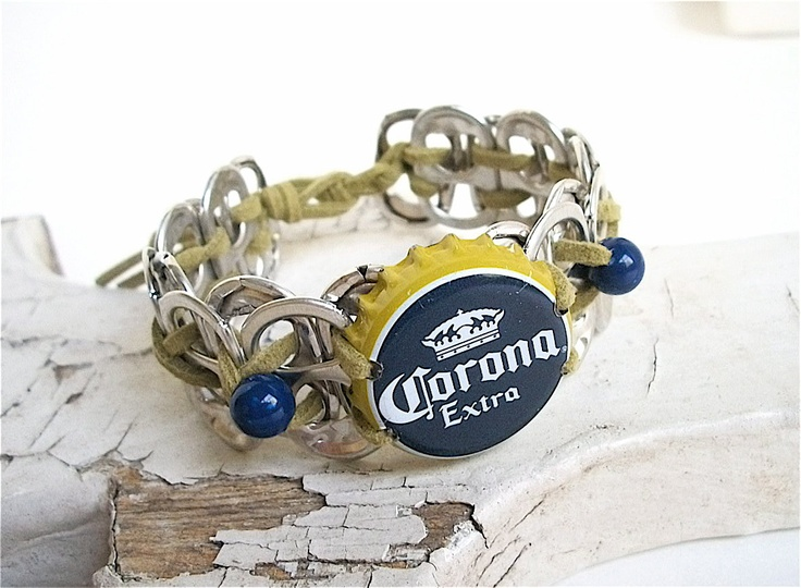 Beer Cap Bracelet - Soda Tab Wristband - Choose S, M, L, XL - olive green and navy blue - unisex - for him - recycled jewelry - Father's Day. $11.00, via Etsy.