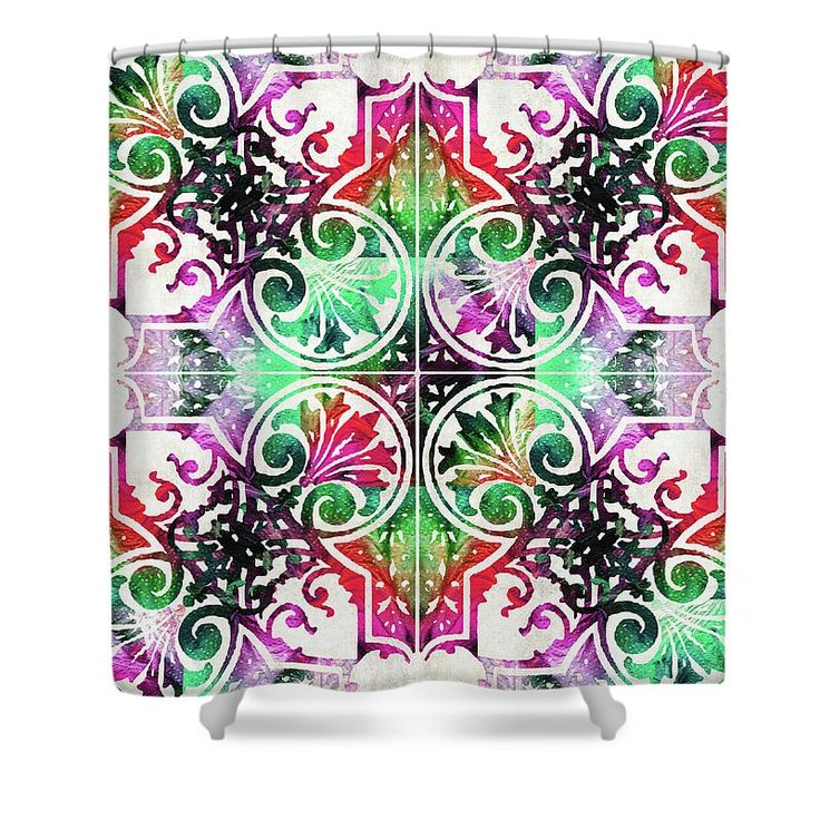 "#showercurtains #bathroomdecor Bright Colorful Pattern Art - Color Fusion Design 10 By Sharon Cummings Shower Curtain by Sharon Cummings. This shower curtain is made from 100% polyester fabric and includes 12 holes at the top of the curtain for simple hanging. The total dimensions of the shower curtain are 71"" wide x 74"" tall."