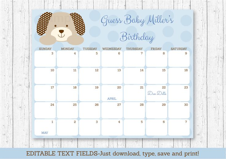 Cute Puppy Baby Due Date Calendar / Puppy Baby Shower / Birthday Predictions Calendar / Shower Game / INSTANT DOWNLOAD Editable PDF A135 by LittlePrintsParties on Etsy https://www.etsy.com/listing/485899005/cute-puppy-baby-due-date-calendar-puppy