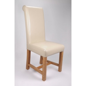 Richmond Bonded Leather Dining Chair Ivory  www.easyfurn.co.uk