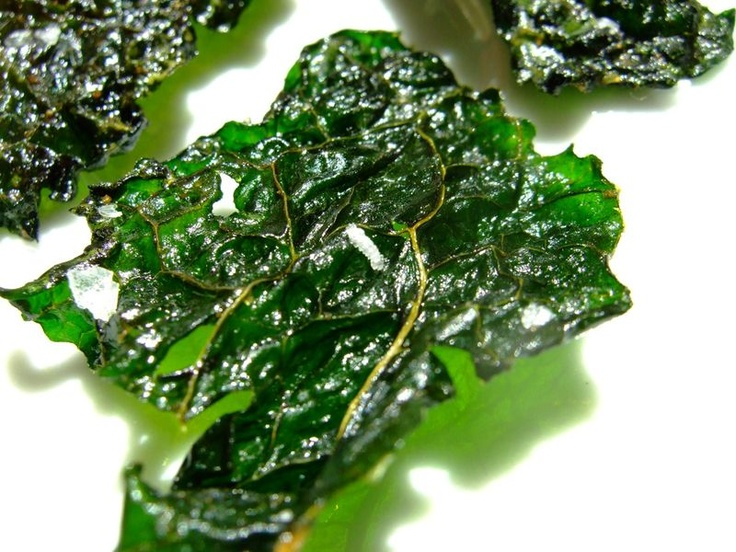 Kale Chips - Abby and I love these but I make mine with salt and garlic powder - Healthy and Good! Found in No Whine With Dinner by Meal Makeover Moms