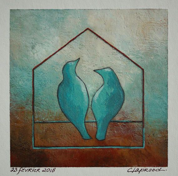 Painting of a pair of birds, couple of birds image, bird art, turquoise wall art, original 6x6 acrylic painting within an 11x14 inches mount