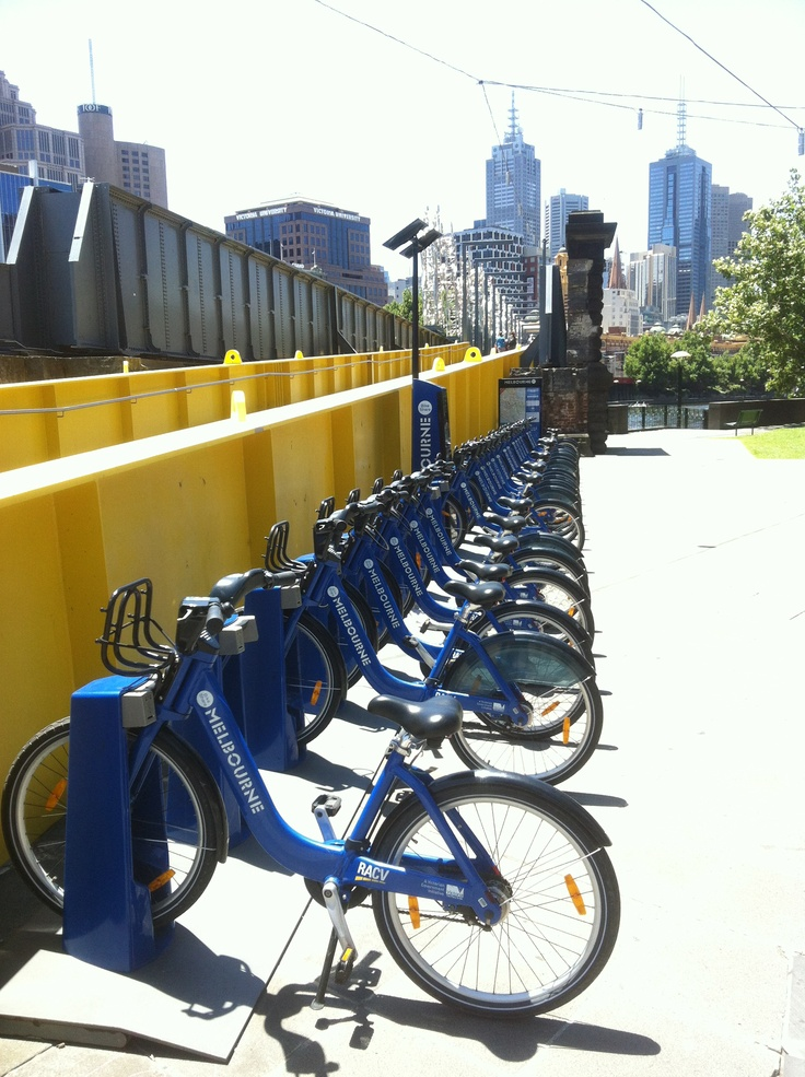 You can now hire bikes and ride through suburbs close to Melbourne's CBD. Here is a bike rank in Southbank. Just pay, and go! To see how you can live in an apartment in Southbank check out www.gracerealty.com.au