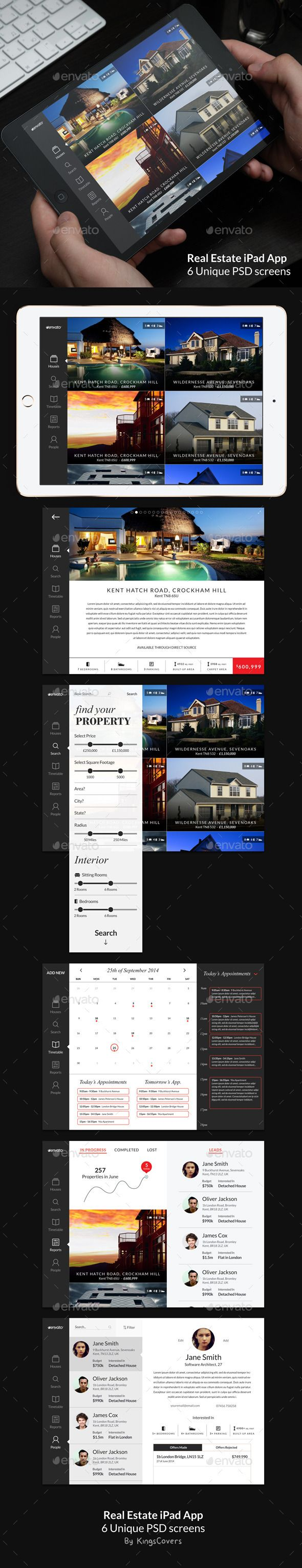 Real Estate iPad App UI #design Download: http://graphicriver.net/item/real-estate-ipad-app/10729854?ref=ksioks