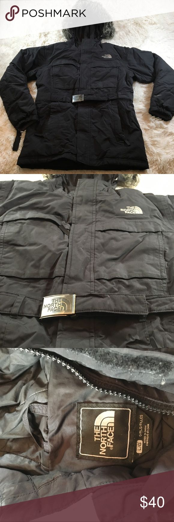Girls The North Face winter jacket Girls kids The North Face winter jacket with locking belt and lining and removable fur on hood The North Face Jackets & Coats Puffers