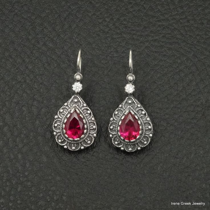 PEAR CUT RUBY CZ ETRUSCAN STYLE 925 STERLING SILVER GREEK HANDMADE ART EARRINGS #IreneGreekJewelry #DropDangle