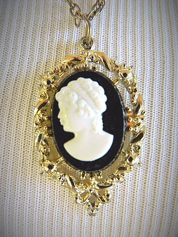 "VTG Park Lane Cameo Pendant Necklace Ornate Signed Retro Costume Jewelry 27"" #ParkLane"