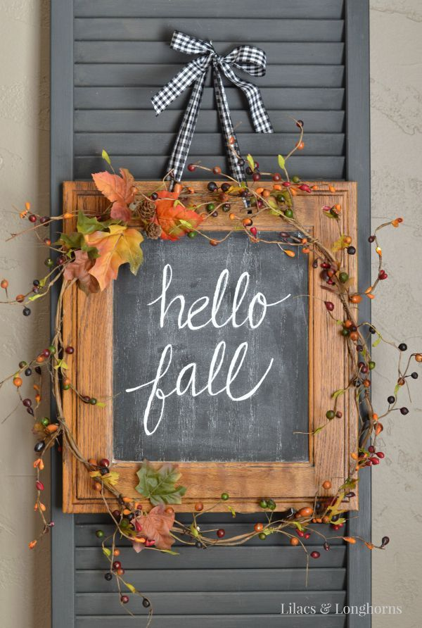 DIY Hello Fall hanging chalkboard or use as instead of a wreath on your front door.