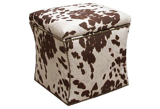 Kent Storage Ottoman, Brown/White on OneKingsLane.com