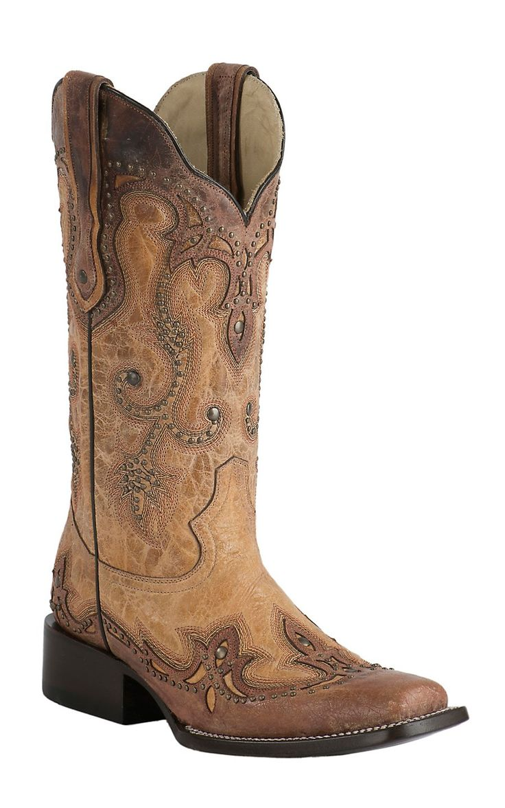 Corral Women's Anitque Saddle Tan with Cognac Overlay & Studs Square Toe  Double Welt Western Boots