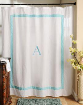 We're loving this Aqua Monogram Shower Curtain! #kirklands #monogramshop