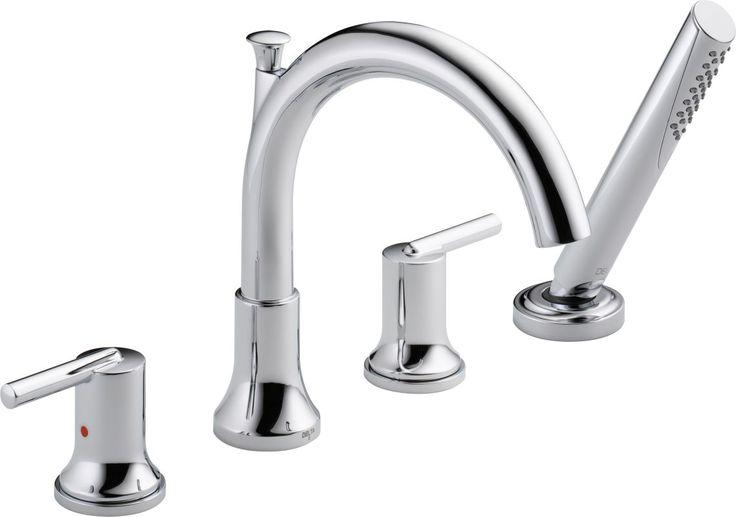 Delta T4759 Trinsic Roman Tub Faucet Trim with Hand Shower Chrome Faucet Roman Tub Double Handle