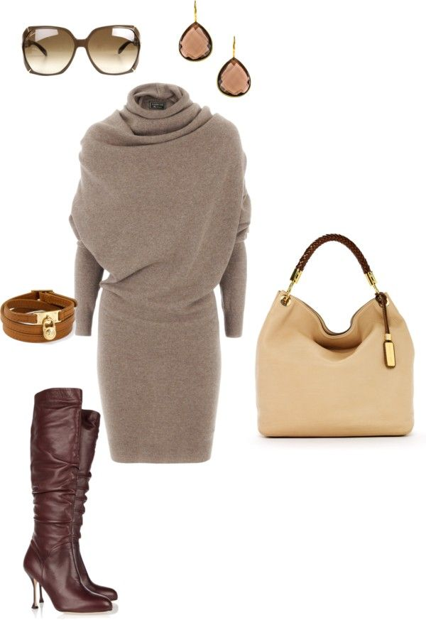 I really want a sweater dress for work! I wouldn't do the heeled boot though, probably just riding boots!
