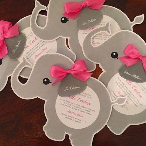 """""""Ai gente achei muito fofos esses convites de elefantinha Regram @papergardenrd"""""""