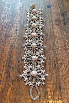 Tatting lace bracelet necklace earrings pdf pattern Pearl