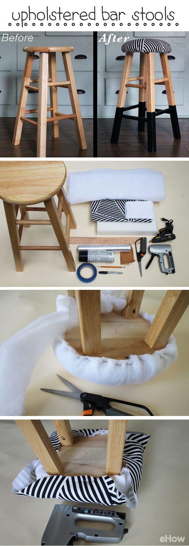 Tapice un taburete de bar con espuma y tejido para añadir un diseño personalizado y un asiento cómodo. Añada pintura a las patas para transformar la apariencia.