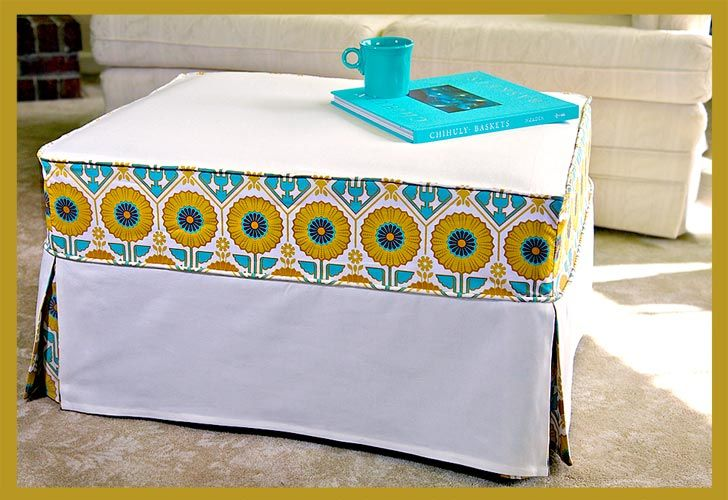 DIY: ottoman slipcover. : Coffee Tables, Sewing Projects, Slipcovers Ottoman, Ottoman Slipcovers Tutorials, Diy Ottoman, Chic Slipcovers, Slip Covers, Ottoman Covers, Sewing Tutorials