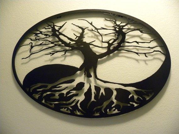 "This Tree of Life sculpture is a wonderful piece of metal art that could adorn your wall!  This is a HAND MADE piece of art, approximately 24"" tall by 36"" wide, made of 16 gauge steel with a 1"" deep band which creates wonderful shadows on the wall. 16 gauge is heavy and durable, but does not make the item too heavy for hanging so it can normally be hung without finding a stud in the wall. A bracket is welded to back for ease of hanging.  Custom sizes are available up to 36 tall by 72 wide…"