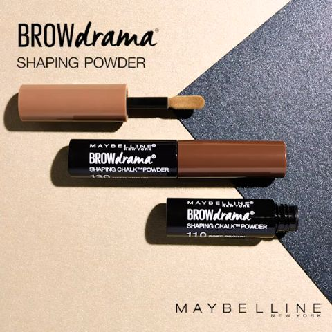 Get softly shaped and defined brows in a New York minute using the NEW Maybelline Brow Drama Shaping Chalk Powder. First, following the brow's natural shape, use the flat side of the applicator to fill the brow. Then flip the applicator over and use the thin side to create a tail and define the brow.