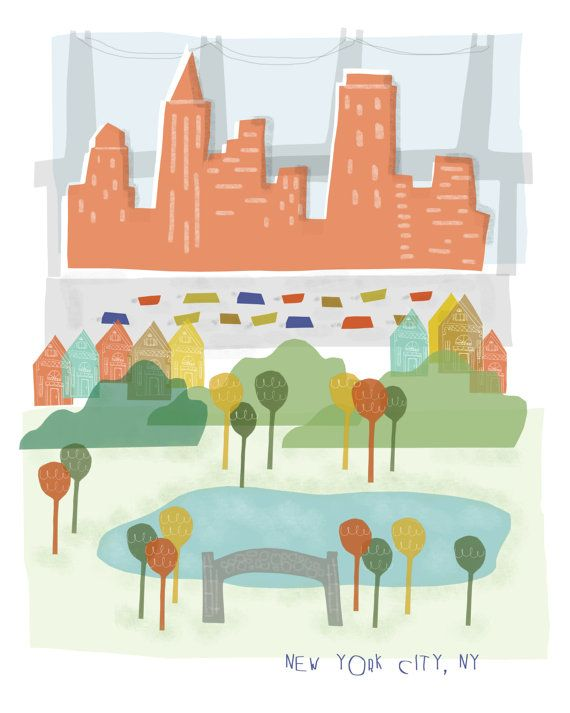 New York City art print illustration  8x10  NYC by confettielove, $14.00