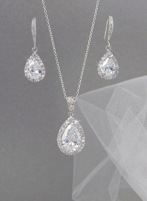 Crystal Bridal Earrings. Crystal wedding earrings, Crystal Pendant, Bridesmaids jewelry, Ariel Bridal Jewelry SET