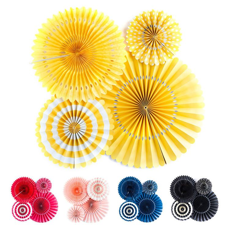 European American Wedding Decorations Sets of 4 DIY Round Flower Paper Fans #Unbranded