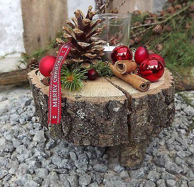 Weihnachten Advent Holz Gesteck Teelicht auf Holzscheibe rot natur