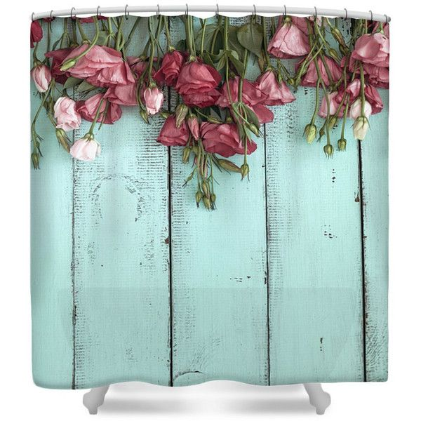 Shower Curtain Shabby Cottage Faux Wood and Roses Mint Green Teal ($59) ❤ liked on Polyvore featuring home, bed & bath, bath, shower curtains, bathroom, home & living, shower curtains & rings, silver and teal shower curtains