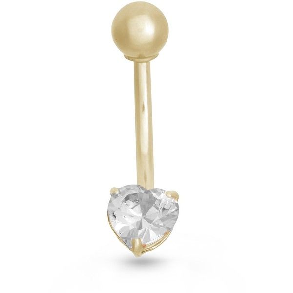Gioelli 10k Gold Cubic Zirconia Heart Belly Ring ($50) ❤ liked on Polyvore featuring jewelry, jewelry - belly rings, white, gold jewelry, cz jewelry, body jewelry, gold jewellery and beach jewelry
