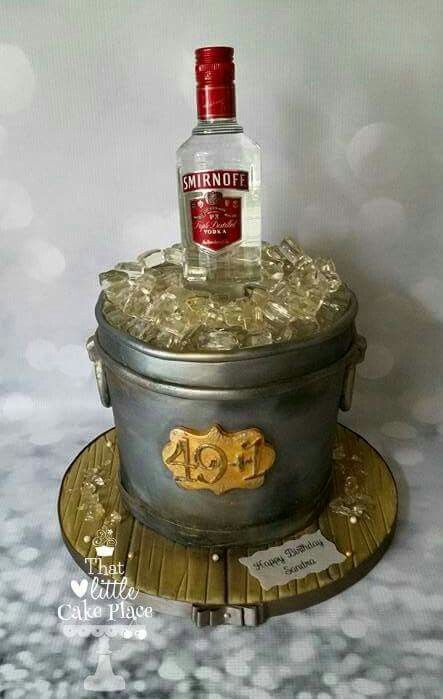 Vodka bottle ice bucket cake