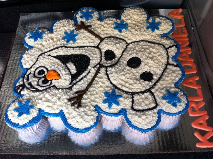 Olaf pull apart Cupcakes cake