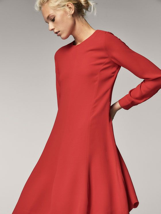 Fall Winter 2017 Women´s RED A-LINE DRESS at Massimo Dutti for 120. Effortless elegance!