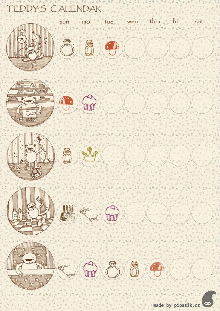 teddys calendar,  Reward Charts for Kids, free printable