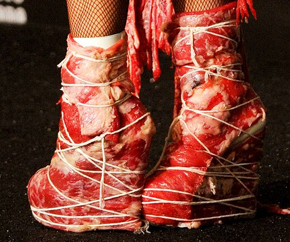 Lady Gaga in Franc Fernandez meat shoes at the Video Music Awards.