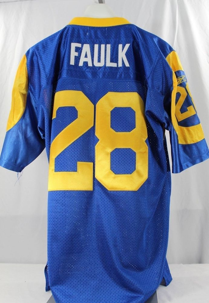 hot sale online 6512f 0ad91 St. Louis Rams Marshall Faulk #28 Blue Jersey Mitchell ...