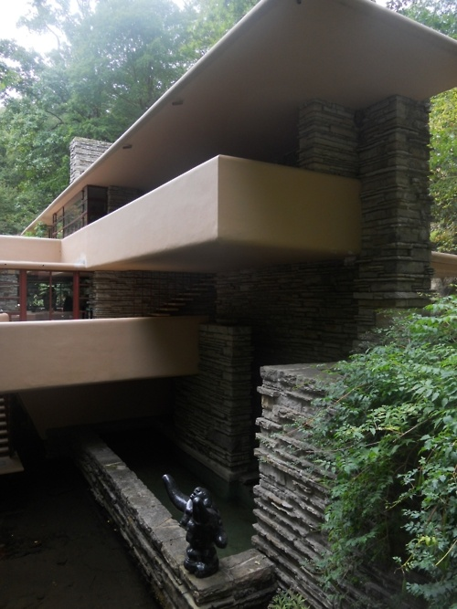 Falling Water by Frank Lloyd Wright . . . RP: GREAT shot! . . . taken from the entrance walkway (living room -red doors to he left; and, bedrooms above).