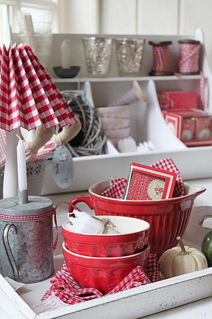 Adore the red bowls!!  In new kitchen that is neutral, I can switch out green for red for orange accents and never get tired of it!!