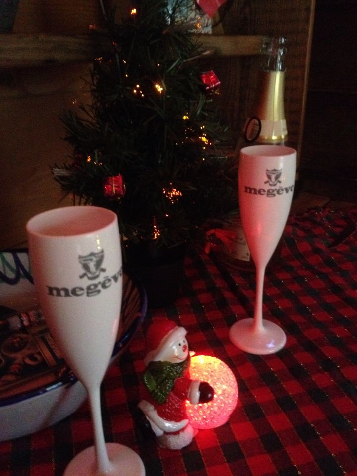 Christmas Day bubbly in Megeve